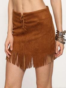 Khaki Lace Up Fringe Suede Skirt