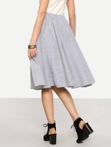 Elastic Waist Vertical Striped A-line Skirt