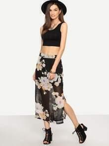 Florals Chiffon Split Side Skirt
