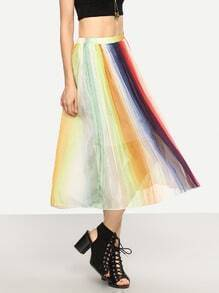 Color-block Vertical Striped Pleated Skirt