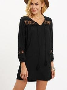 Black Lace-Insert Tassel Tie-Neck Dress