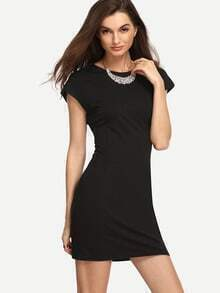 Black Round Neck Cap Sleeve Sheath Dress
