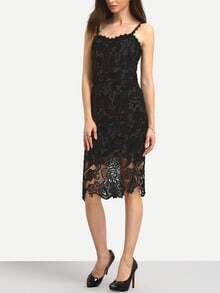 Black Lace Sheath Cami Dress