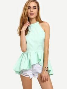 Mint Green Halter Neck Backless Asymmetric Peplum Top