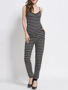 Black White Striped Cami Top With Pants