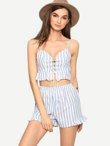 Blue Striped Lace-Up Cami Top With Shorts