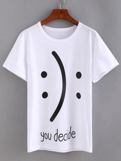 Emoticons Print White T-shirt