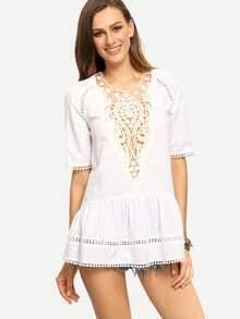 White Crochet Patchwork Short Sleeve Blouse
