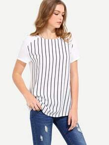 White Short Sleeve Striped T-shirt