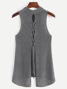 Grey Lace Up Back Split Tank Top