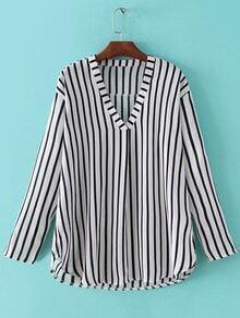 Black White V Neck Long Sleeve Stripe Blouse