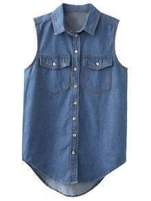 Blue Pockets Buttons Front Sleeveless Denim Blouse
