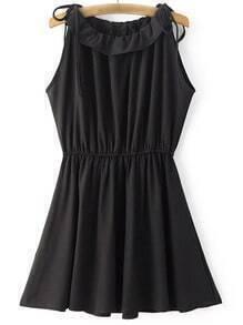 Black Shoulder Self-tie Bow Elastic Waist Skater Dress