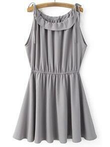 Grey Shoulder Self-tie Bow Elastic Waist Skater Dress