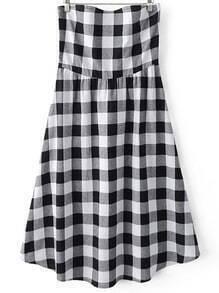 Black White Plaids High Waist Bandeau Dress