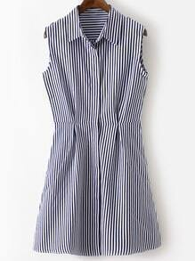 Multicolor Lapel Sleeveless Buttons Front Stripe Shirt Dress