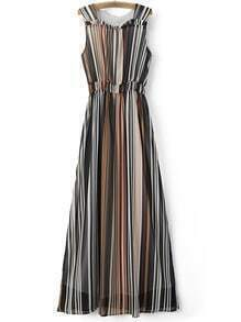 Multicolor Sleeveless Elastic Waist Stripe Maxi Dress