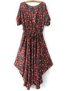 Red Tie-Waist Bow Irregular Hem Floral Print Dress