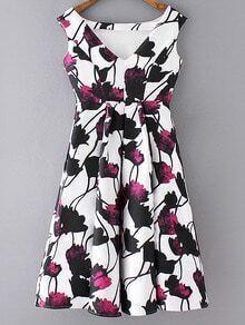 Multicolor Flowers Print High Waist Pleated Dress