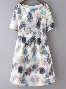 Multicolor Short Sleeve Zipper Back Flowers Print Dress