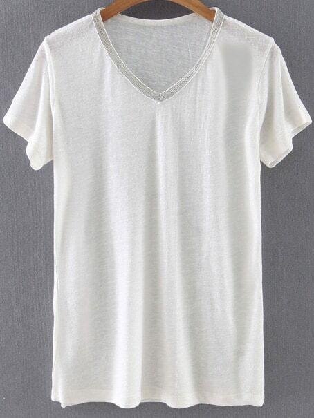 camiseta escote v manga corta casual -beige