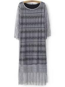 Grey Fringe Hem Lace Midi Dress With Long Tank