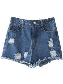 Blue Pockets Fringe Trim Ripped Hole Denim Shorts
