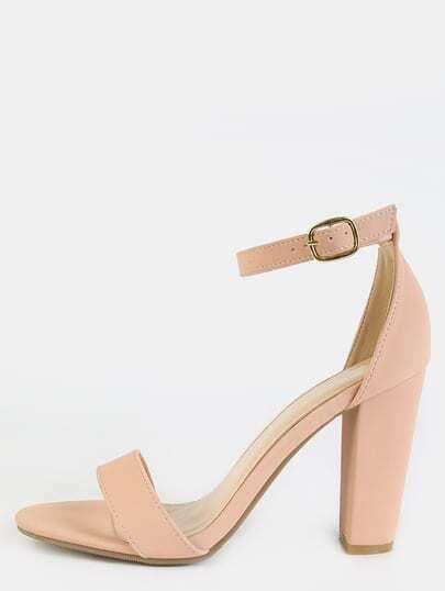 Open Toe Ankle Strap Block Heels ROSE