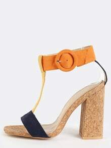 Tri-Colored T-Strap Cork Heels NAVY