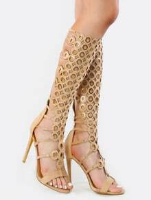 Open Toe Eyelet Stiletto Heels NUDE