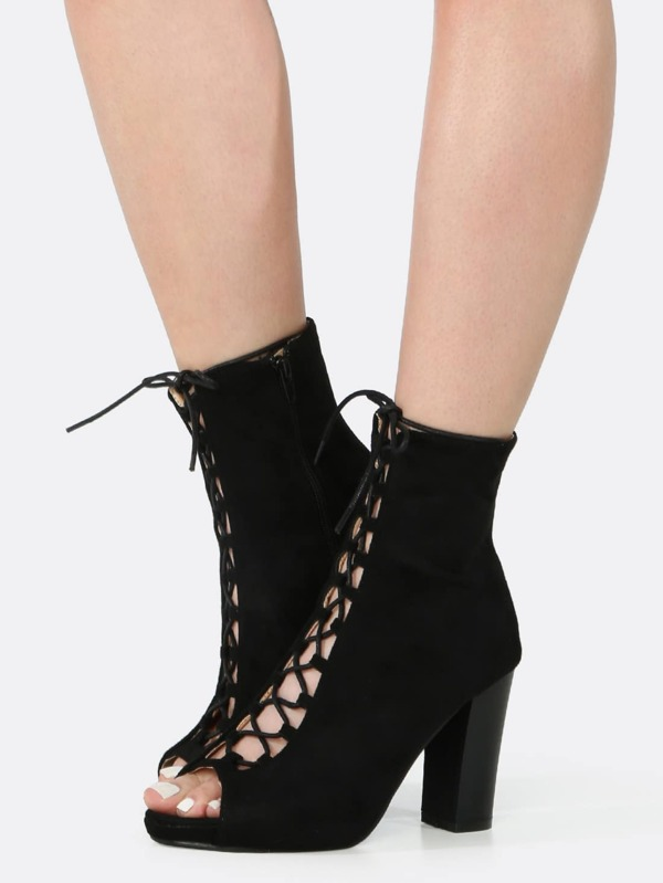 Peep Toe Lace Up Chunky Heel Booties BLACK -SheIn(Sheinside)