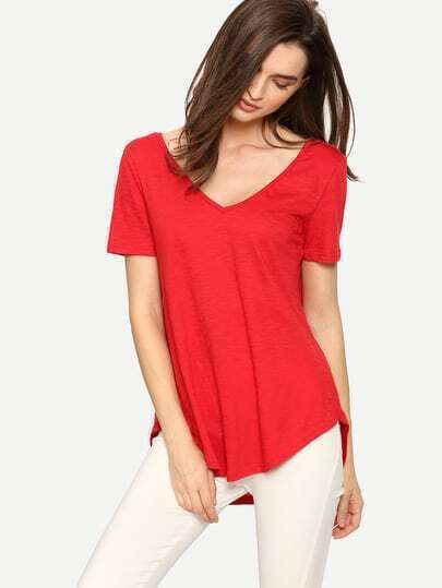 Red Short Sleeve V Neck T-shirt
