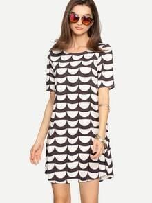 Black White Print Short Sleeve Dress