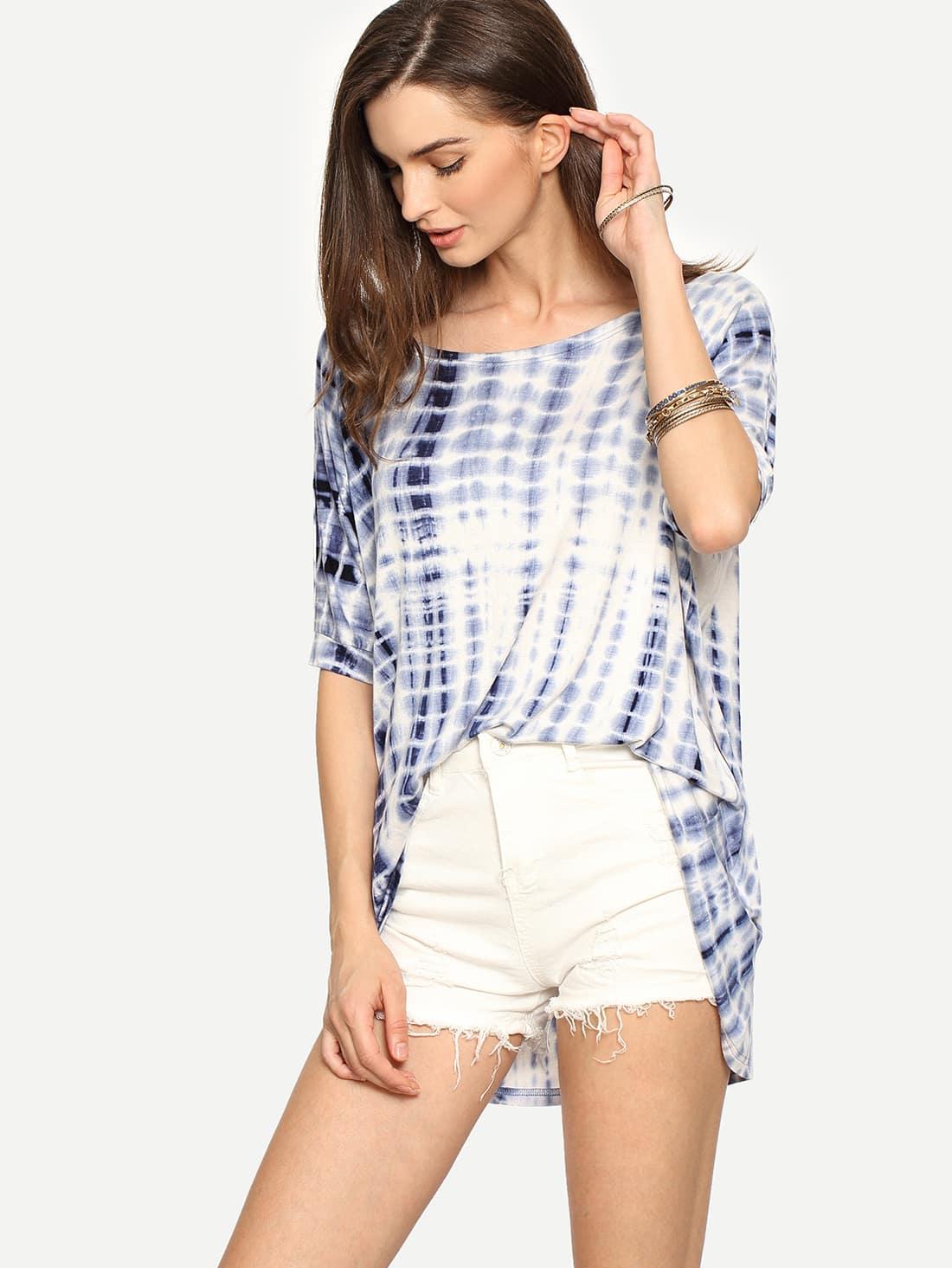 Multicolor Ikat Print Half Sleeve T-shirtMulticolor Ikat Print Half Sleeve T-shirt<br><br>color: Multi<br>size: L