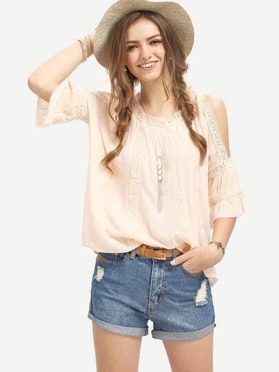Pink Cold Shoulder Three Quarter Sleeve Blouse