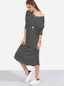 Black White Stripe Long Sleeve Shift Midi Dress