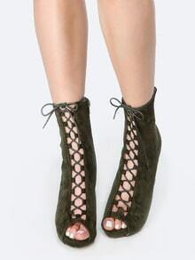 Lace Up Chunky Heel Ankle Boots OLIVE