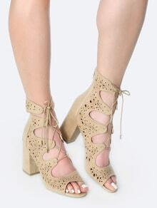 Open Toe Cut Out Ankle Booties NATURAL