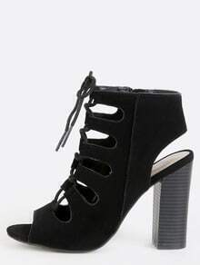 Caged Open Toe Chunky Heel Booties BLACK