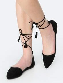 Pointy Toe Lace Up Flats BLACK