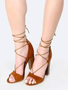 Faux Suede Wrap Up Chunky Heels CHESTNUT