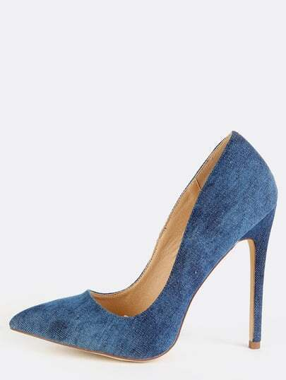 Denim Stiletto Pointy Toe Pumps DENIM
