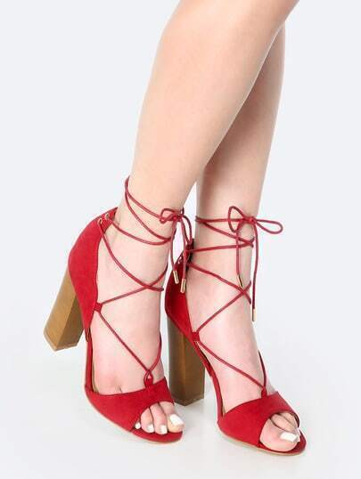 Open Toe Lace Up Chunky Heels CRIMSON
