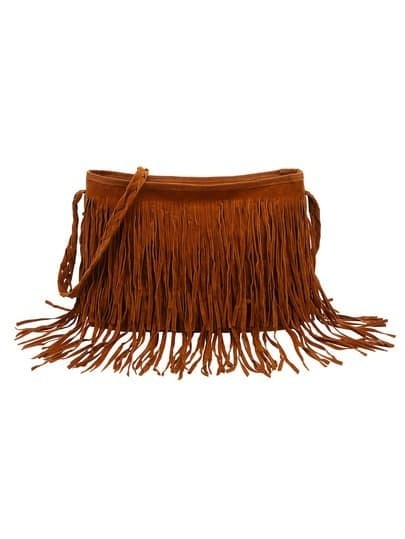 Brown Faux Suede Fringe Shoulder Bag