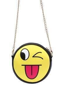 Yellow Stuck-Out Tongue Emoji Chain Bag