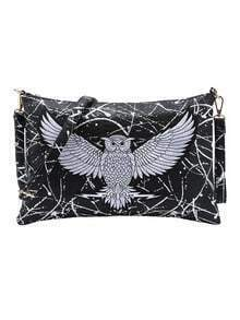 Embroidered Owl Patch Paint Splatter Print Clutch - Black