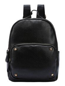 Black Faux Leather Studded Backpack