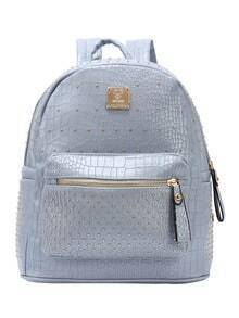 Grey Crocodile Embossed Faux Leather Studded Backpack