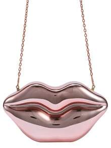 Metallic Rose Gold Lip Clutch With Chain