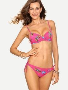 Butterfly Print Side-Tie Bikini Set - Hot Pink